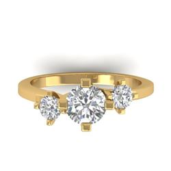 1.25 CTW Certified VS/SI Diamond Solitaire 3 Stone Ring 14K Yellow Gold - REF-201K3W - 30407