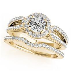 1.11 CTW Certified VS/SI Diamond 2Pc Wedding Set Solitaire Halo 14K Yellow Gold - REF-144K2W - 30872
