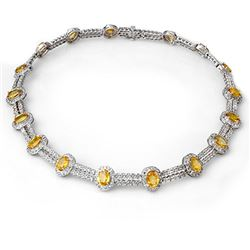 55.5 CTW Yellow Sapphire & Diamond Necklace 14K White Gold - REF-873H3M - 10022