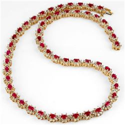 27.10 CTW Ruby & Diamond Necklace 14K Yellow Gold - REF-854H2M - 13165