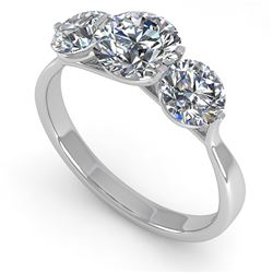 2 CTW Past Present Future Certified VS/SI Diamond Ring Martini 14K White Gold - REF-390N9A - 38347
