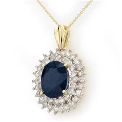 11.20 CTW Blue Sapphire & Diamond Pendant 14K Yellow Gold - REF-205X5R - 12994