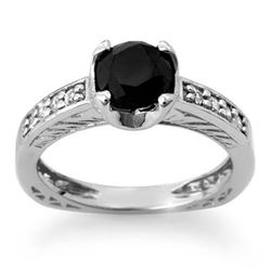 1.85 CTW VS Certified Black & White Diamond Ring 14K White Gold - REF-92W2H - 11803