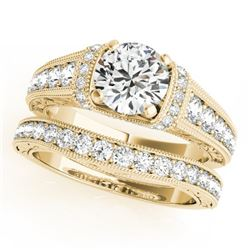1.86 CTW Certified VS/SI Diamond Solitaire 2Pc Wedding Set Antique 14K Yellow Gold - REF-412W7H - 31