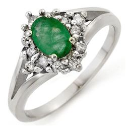 0.85 CTW Emerald & Diamond Ring 18K White Gold - REF-43R5K - 10273