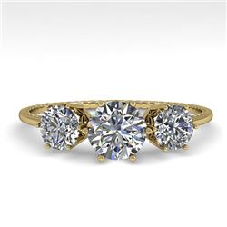 1 CTW Past Present Future Certified VS/SI Diamond Ring 18K Yellow Gold - REF-157W5H - 35905