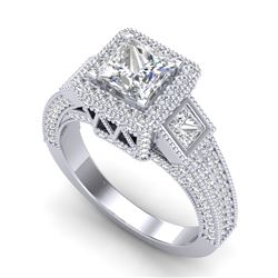 3.53 CTW Princess VS/SI Diamond Micro Pave 3 Stone Ring 18K White Gold - REF-618A2V - 37175