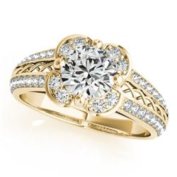 0.85 CTW Certified VS/SI Diamond Solitaire Halo Ring 18K Yellow Gold - REF-140R2K - 26909