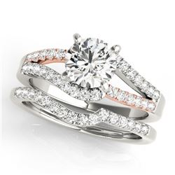 1.61 CTW Certified VS/SI Diamond Solitaire 2Pc Set 14K White & Rose Gold - REF-404M4F - 31966