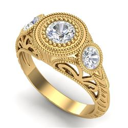 1.06 CTW VS/SI Diamond Solitaire Art Deco 3 Stone Ring 18K Yellow Gold - REF-180A2V - 36895