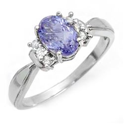 1.06 CTW Tanzanite & Diamond Ring 18K White Gold - REF-40F9N - 14406