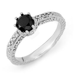1.20 CTW VS Certified Black & White Diamond Ring 14K White Gold - REF-60K9W - 11837