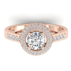 1.45 CTW Certified VS/SI Diamond Art Deco Micro Halo Ring 14K Rose Gold - REF-217X3R - 30487