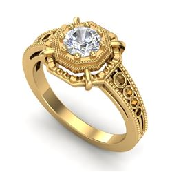 0.53 CTW VS/SI Diamond Art Deco Ring 18K Yellow Gold - REF-136K4W - 36871