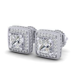 2.01 CTW Princess VS/SI Diamond Solitaire Art Deco Earrings 18K White Gold - REF-245N5A - 37127