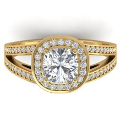 1.50 CTW Cushion Cut Certified VS/SI Diamond Art Deco Ring 14K Yellow Gold - REF-429H8M - 30335
