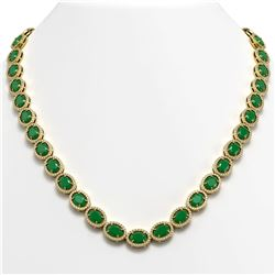 52.15 CTW Emerald & Diamond Necklace Yellow Gold 10K Yellow Gold - REF-655A3V - 40555