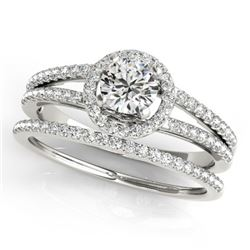 0.85 CTW Certified VS/SI Diamond 2Pc Wedding Set Solitaire Halo 14K White Gold - REF-127A3V - 31073