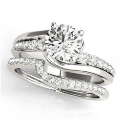 1.10 CTW Certified VS/SI Diamond Bypass Solitaire 2Pc Wedding Set 14K White Gold - REF-141M3F - 3184