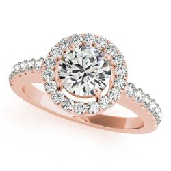 1.65 CTW Certified VS/SI Diamond Solitaire Halo Ring 18K Rose Gold - REF-402F7N - 26333