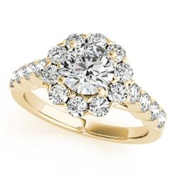 2.1 CTW Certified VS/SI Diamond Solitaire Halo Ring 18K Yellow Gold - REF-262W9H - 26373