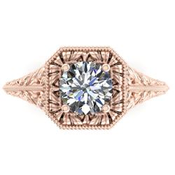 1 CTW Solitaire Certified VS/SI Diamond Ring 14K Rose Gold - REF-289X6R - 38527