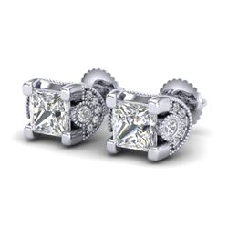 2.5 CTW Princess VS/SI Diamond Art Deco Stud Earrings 18K White Gold - REF-642M2F - 37151