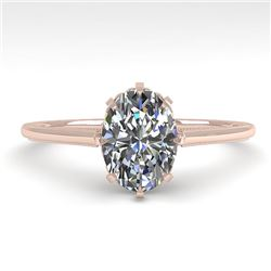 1.0 CTW VS/SI Oval Diamond Solitaire Engagement Ring 18K Rose Gold - REF-283M5F - 35747