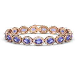 21.35 CTW Tanzanite & Diamond Bracelet Rose Gold 10K Rose Gold - REF-353K6W - 40611