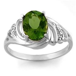 2.54 CTW Green Tourmaline & Diamond Ring 18K White Gold - REF-52X7R - 11478