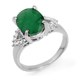 4.24 CTW Emerald & Diamond Ring 18K White Gold - REF-77W3H - 13034