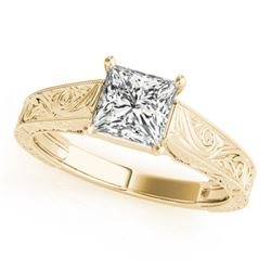 1 CTW Certified VS/SI Princess Diamond Ring 18K Yellow Gold - REF-346K4W - 28127