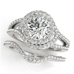 2.22 CTW Certified VS/SI Diamond 2Pc Wedding Set Solitaire Halo 14K White Gold - REF-433A3V - 31265