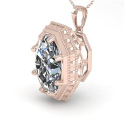 1 CTW VS/SI Oval Cut Diamond Solitaire Necklace 18K Rose Gold - REF-287R7K - 35999