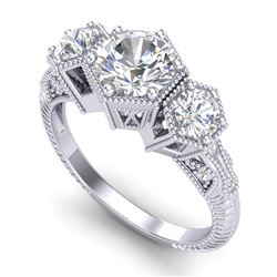 1.66 CTW VS/SI Diamond Solitaire Art Deco 3 Stone Ring 18K White Gold - REF-445H5M - 37223