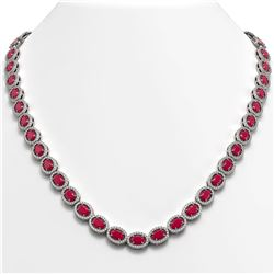 34.11 CTW Ruby & Diamond Necklace White Gold 10K White Gold - REF-562M9F - 40403