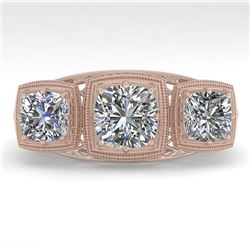 2 CTW Past Present Future VS/SI Cushion Cut Diamond Ring Deco 18K Rose Gold - REF-481N6A - 36071