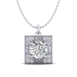 1.02 CTW VS/SI Diamond Solitaire Art Deco Necklace 18K White Gold - REF-200X2R - 37271