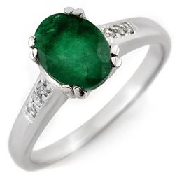 1.10 CTW Emerald & Diamond Ring 10K White Gold - REF-36W4H - 11545