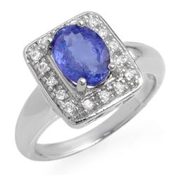 2.65 CTW Tanzanite & Diamond Ring 18K White Gold - REF-100W4H - 14100