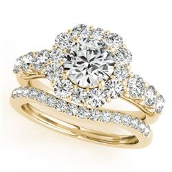 2.51 CTW Certified VS/SI Diamond 2Pc Wedding Set Solitaire Halo 14K Yellow Gold - REF-450N7A - 30725