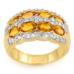 3.75 CTW Yellow Sapphire & Diamond Ring 14K Yellow Gold - REF-105R5K - 11454