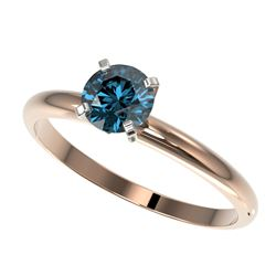 0.75 CTW Certified Intense Blue SI Diamond Solitaire Engagement Ring 10K Rose Gold - REF-118H2M - 32