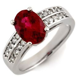 2.50 CTW Rubellite & Diamond Ring 14K White Gold - REF-74F2N - 11669