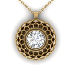 1.25 CTW Certified VS/SI Diamond Art Deco Necklace 14K Yellow Gold - REF-360R4K - 30560