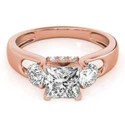 1.60 CTW Certified VS/SI Princess Cut Diamond 3 Stone Ring 18K Rose Gold - REF-466W9H - 28036