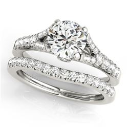 1.56 CTW Certified VS/SI Diamond Solitaire 2Pc Wedding Set 14K White Gold - REF-213R5K - 31748