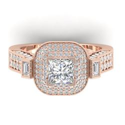 2.85 CTW Princess VS/SI Diamond Art Deco Micro Halo Ring 14K Rose Gold - REF-555N5A - 30445