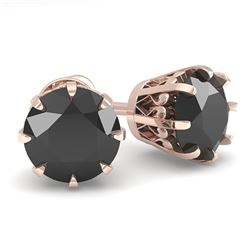 2.0 CTW Black Diamond Stud Solitaire Earrings 18K Rose Gold - REF-70Y9X - 35690