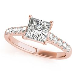1.30 CTW Certified VS/SI Princess Diamond Ring 18K Rose Gold - REF-371K5W - 28117